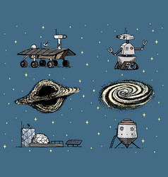 Space shuttle black hole and galaxy robot and vector