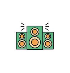 Speakers sound celebration party line fill design vector
