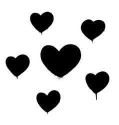 sprayed graffiti hearts set in black on white vector image