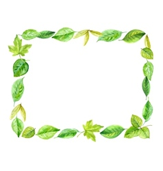 Square frame made of various leaves in watercolor vector