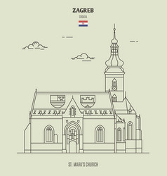 st marks church in zagreb croatia vector image