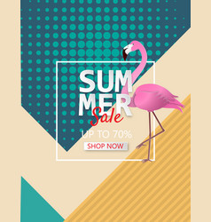 summer sale poster background with flamingo vector image