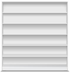 Supermarket blank shelf Empty white long showcase vector image