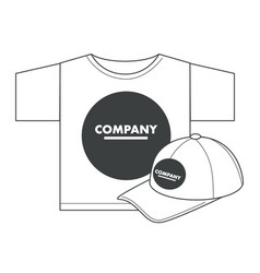 t-shirt and cap with corporate identity print vector image