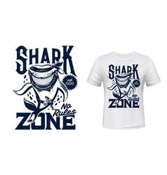 T-shirt print with shark animal mascot vector