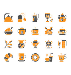 tea simple color flat icons set vector image