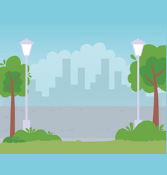 Trees lamps street urban city cityscape design vector