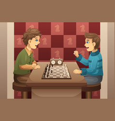 Two kids playing chess vector