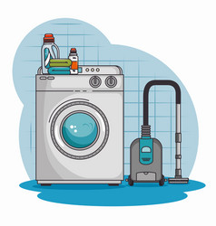 washing machine and cleaner vacuum vector image