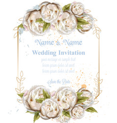 Wedding invitation watercolor white peonies card vector