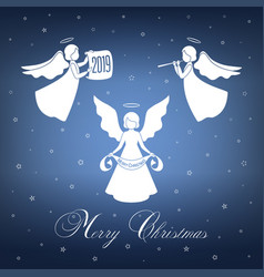 White christmas angels with wings and nimbus vector