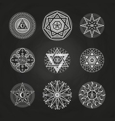 white mystery occult alchemy mystical esoteric vector image