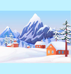 winter rural landscape nature scene with snowy vector image