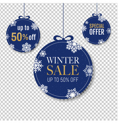 Winter sale labels with snowflake transparent vector