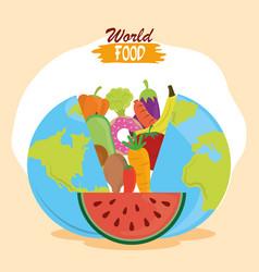 world food day planet filled fruit vegetables vector image