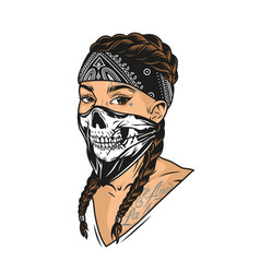 young woman in scary mask and bandana vector image