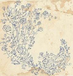 Floral graphic element on the paper vector image