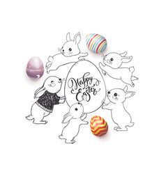 hand drawn happy easter wish handwritten with vector image vector image
