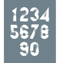 Handwritten white numbers stylish numbers set vector image