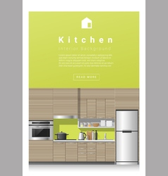 Interior design Modern kitchen banner 3 vector image vector image