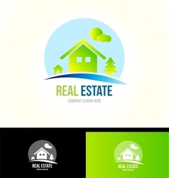 Mountain cabin real estate house logo icon vector image