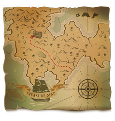 ship or boat and treasure on old map vector image vector image