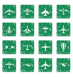 Aviation icons set grunge vector