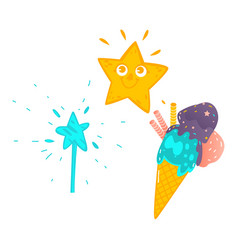 cartoon childish magic items set vector image