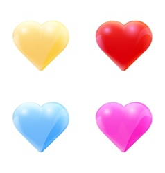 Colorful set of glass hearts vector image vector image