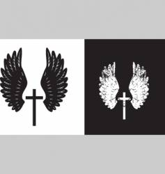 cross and wings black vector image vector image