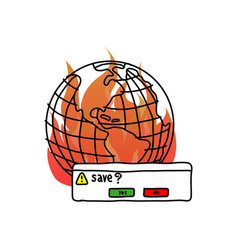 save the earth with fire doodle vector image