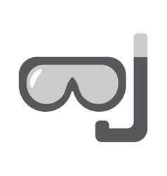 scuba mask flat linear icon vector image vector image