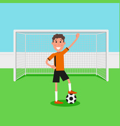 soccer goalkeeper keeping goal on arena athlete vector image vector image
