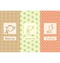 Set linear tea package ornamental vector image vector image