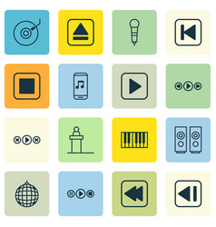 set of 16 music icons includes last song vector image vector image