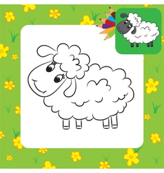 sheep coloring page vector image vector image