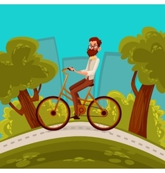 Urban hipster cyclist rides in the city vector image