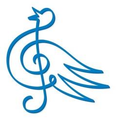 blue bird music vector image vector image
