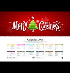 Calendar 2013 Merry Christmas vector image vector image