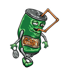 cartoon beverage can with a straw vector image