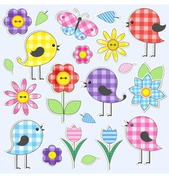Cute birds and flowers vector image vector image