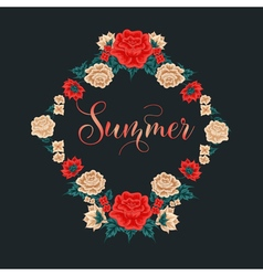 Floral Frame Red Roses Summer Time vector image vector image