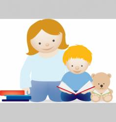mum and child read vector image vector image