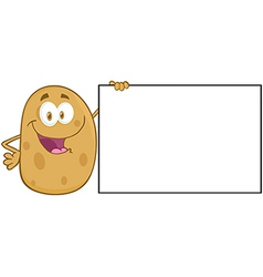 Potato Character Holding A Blank Sign vector image vector image