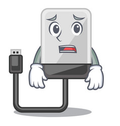 afraid hard drive isolated on the characters vector image