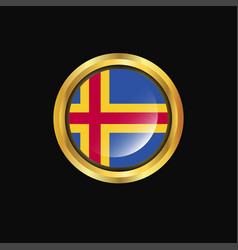 Aland flag golden button vector