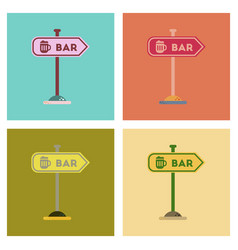 Assembly flat icons sign of bar vector