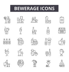 bewerage line icons signs set outline vector image
