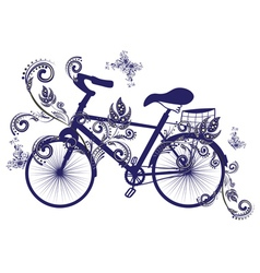 Bicycle and floral ornament3 vector