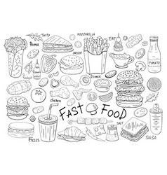 Big set fast food elements on white background vector